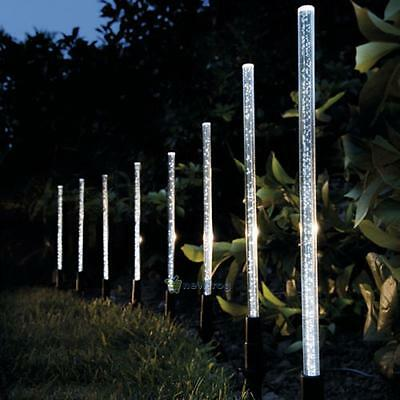 8X LED Crystal Bubble Solar Powered Lamps Home Garden Stick Lights Border Path