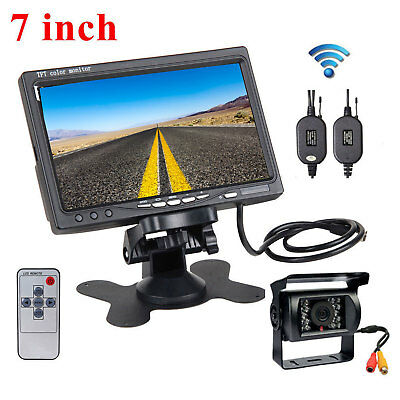 "Wireless 7""Car Rear View Monitor+Night Vision Backup Camera For RV Truck Trailer"