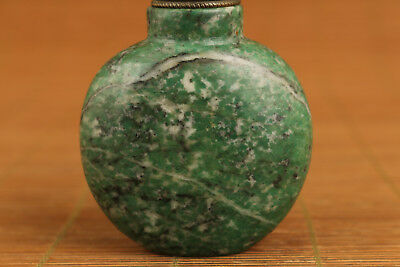 Rare Old natural green stone Snuff Bottle Art noble gift home decoration