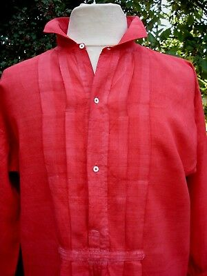 ANTIQUE FRENCH LINEN SHIRT TUNIC HAND DYED RED WORK SMOCK 19th