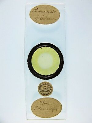 Antique Microscope Slide by W.Watson. Chemical crystals. Thionurate of Calcium.