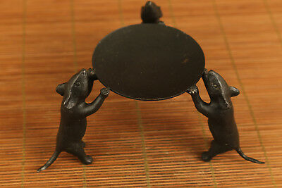 ancient chinese old bronze hand carved mouse statue oil lamp /  candle stick