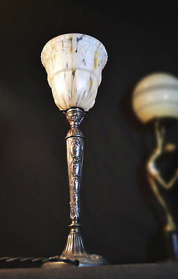 Rare Edwardian silver-plated table lamp marbled handmade shade vintage fittings