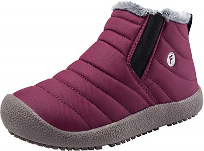 Barerun Boys Girls Winter Shoes for Outdoor Indoor Warm Boot Red 3 M US Little