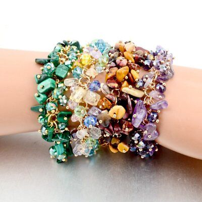 Charms Women Natural Crystal Stone Gravel Chip Bracelet Wristband Bangle Jewelry