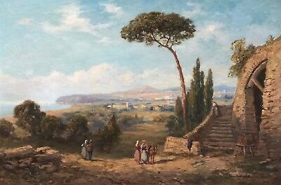 Figures on the Italian Coast Antique Oil Painting by Andrea Vasari (1873-1961)