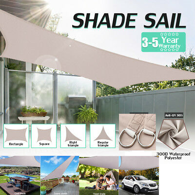 300D Waterproof Sun Shade Sail Garden Canopy UV Patio Cover Rectangle