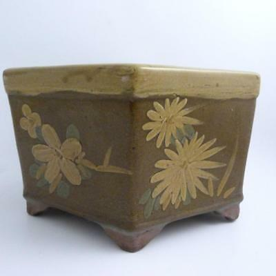 Large Chinese Hexagonal Brown-Glazed Pottery Jardiniere, 19Th Century
