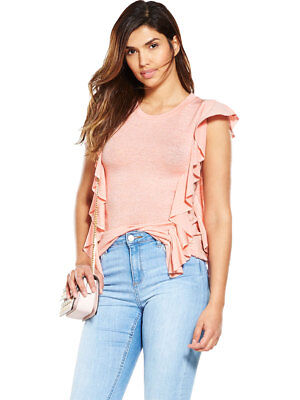 V By Very Frill Snit Top In Pink Plus Size 18