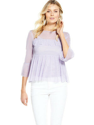 V by Very Mesh T-Shirt In Lilac Size 16