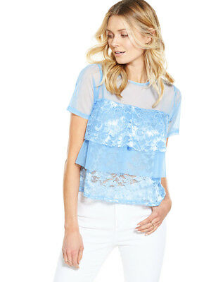 V By Very Mesh Frill Lace Top In Baby Blue Plus Size 18