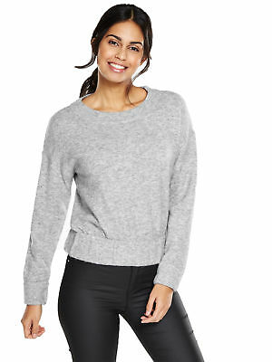 V by Very Crew Neck Elasticated Hem Jumper in Grey Marl Size 14