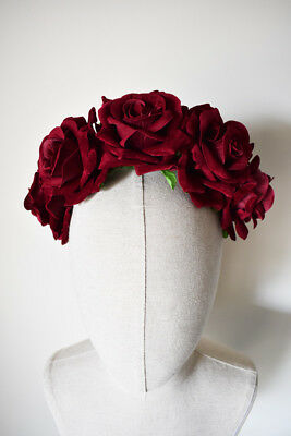 Burgundy Fascinator Flocked Velvet Headband Wedding Flower Crown Races Headpiece