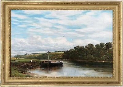River Trent at Hoveringham Antique Oil Painting by James Orrock ROI (1829-1913)