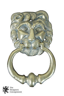 Vintage Solid Cast Brass Figural Lions Head Front Door Knocker Architectural 7""
