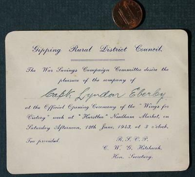 1943 World War II Savings Council Campaign Committee Rural District Invitation!