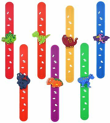 Dinosaur Snap Slap Bracelet Wrap Silicone Wristband Boys Party Bag Filler Toy