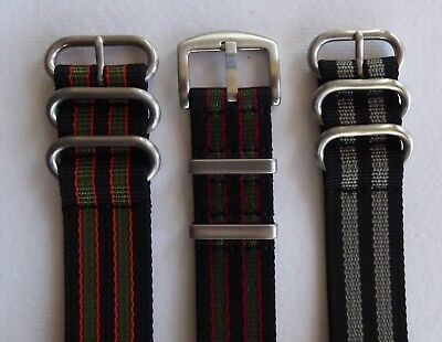Heavy Duty Striped Nato Military Style Watch Strap James Bond Colours 18 - 24Mm