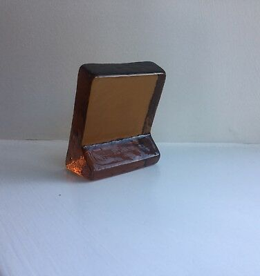 1970'S Lindshammar Amber Glass Architectural Standing  Slab Very Good Condition