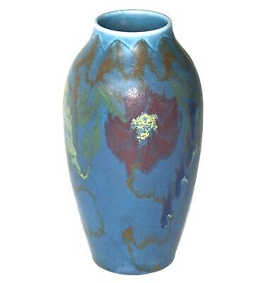 """ROOKWOOD 7"""" STYLIZED BLOSSOM & LEAF ABSTRACT DESIGN MKED CHARLES TODD c1921 VASE"""