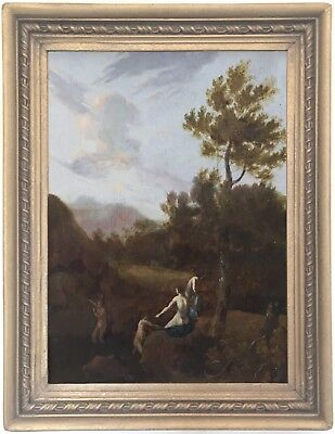 Diana and her Nymphs Antique Old Master Oil Painting 18th Century Dutch School