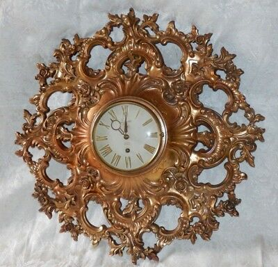 Vintage SYROCO 8 Day Jeweled Wind Up SCROLL CLOCK Hollywood Regency