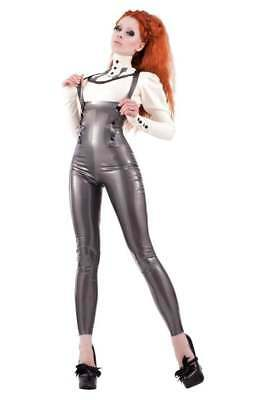 R1802 Latex High Waist LEGGINGS//BRACES XS-6 UK BLACK Zip RRP £167.25