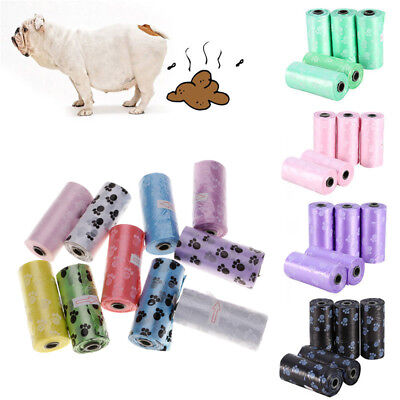 15pc/Roll Pet Dog Waste Poop Bags Pick Up Clean Up Rubbish Plastic Bag Paw Print