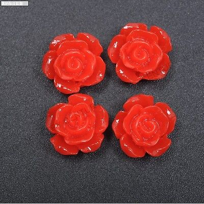 20pcs red Resin flowers cameos fit Cabochons settings flatback beads 10MM