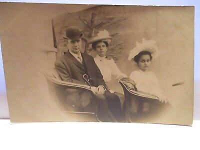 1900 Real Photo Postcard  2 Pretty Girls, Well Dressed Man, In Carriage Unused