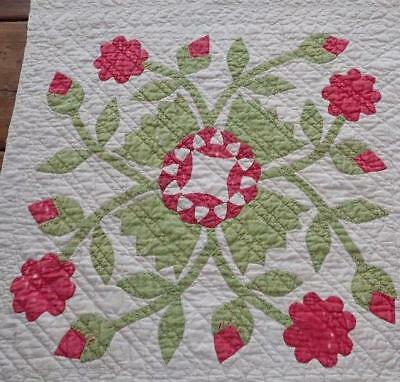 Antique Red & Green Applique Whig Rose Cutter Quilt Piece