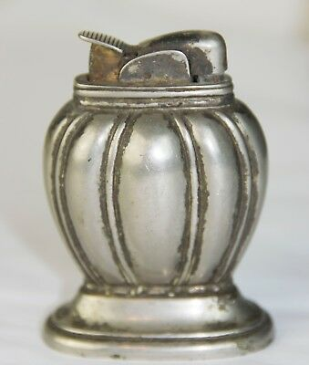 Vintage EVANS Table Desk Lighter Antiqued Silver Pewter tone metal