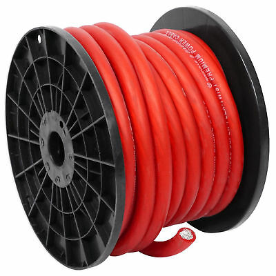 Rockville R0G50RED 0 Gauge 50 Foot Spool Red Car Amp Power+Ground Wire Cable