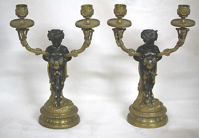 18th Century Gold Bronze Satyr Figure Candlesticks Clause Claudian (1738 - 1814)
