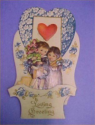 Vintage Valentines Day Card Foldout Stand Up Germany Loving Couple Victorian