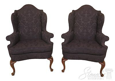 46422EC/23EC: Pair SOUTHWOOD Blue Damask Upholstered Wing Chairs