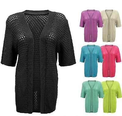 1d27ffefed Womens Ladies Crochet Boyfriend Short Sleeve Knitted Open Cardigan Plus  Sizes