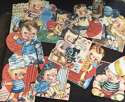 Vintage Valentine Cards Lot Of 10 UNUSED Mid century 50s USA Kitsch children's