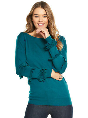 V by Very Ruffle Sleeved Tie Back Jumper In Dark Teal Size 8