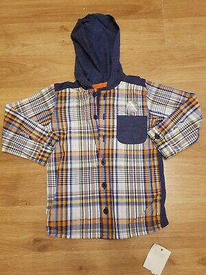 BNWT baby boys 12-18 months shirt long sleeve with hood checked NEW