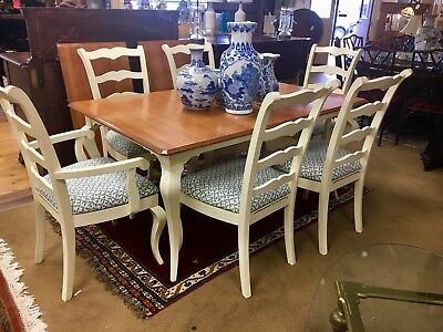 Hitchcock Dining Room Expandable Farmhouse Set Table & six Chairs Expands to 104
