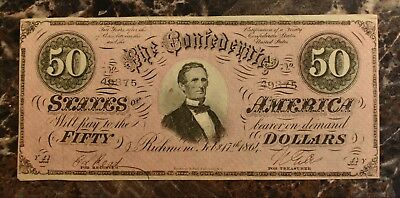 1864 Confederate States of America $50 Banknote Circulated CSA Bill Fifty Dollar