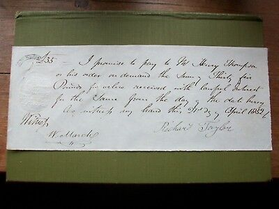 1852, Promissory Note: Henry Thompson. Grantham - Richard Taylor + W.march.