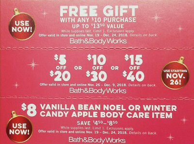 Lot of 3 Bath & Body Works 3 Coupons Valid Online or Instore