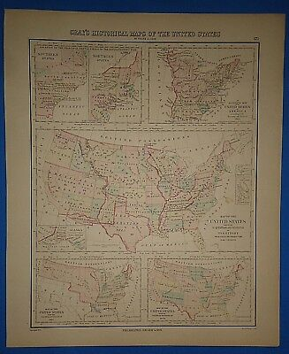 Vintage 1876 HISTORICAL MAPS of the UNITED STATES Old Antique Original Atlas Map
