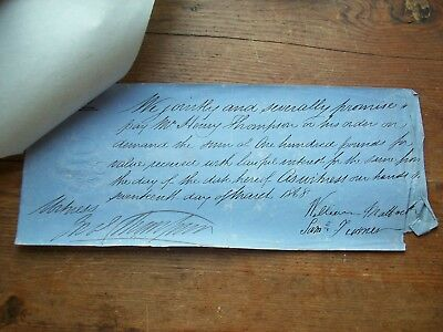 1868, £100 Promissory Note: Thompson. Grantham - Wm Matlock + S.turner + Monks