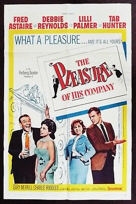 The Pleasure Of His Company 1961 Fred Astaire Tab Hunter Debbie Reynolds Poster