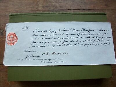 1913 Promissory Note: E.harris. Little Gonerby? - H.thompson.  Grantham, Lincs.