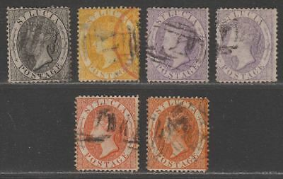 St Lucia 1864 Queen Victoria Selection to 1sh perf 14 Used