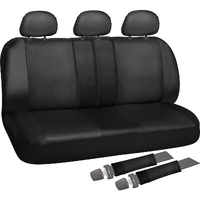 Rear Seat Cover Set for Car Truck SUV - Split Bench PU Leather - 8pc